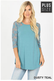 SQ-G (Lace & Faith) SALE!! Dusty Teal Tunic With Lace Sleeves PLUS SIZE 1X 2X 3X