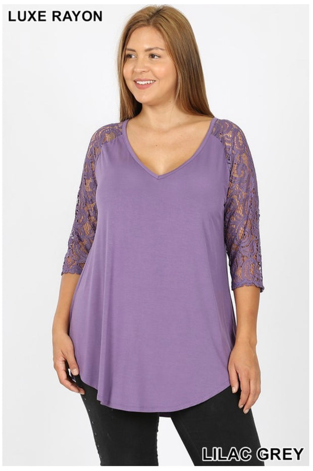 SD-D (Remember Me) Lilac Grey V-Neck Top With Lace Sleeves PLUS SIZE 1X 2X 3X