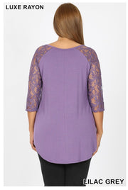 SQ-D (Remember Me) Lilac Grey V-Neck Top With Lace Sleeves PLUS SIZE 1X 2X 3X