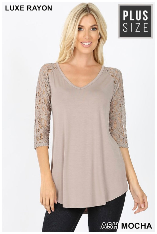 SD-A (Remember Me) Ash Mocha V-Neck Top With Lace Sleeves PLUS SIZE 1X 2X 3X