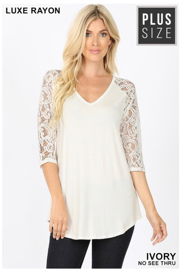 SQ-C (Remember Me ) Ivory V-Neck Top With Lace Sleeves PLUS SIZE 1X 2X 3X