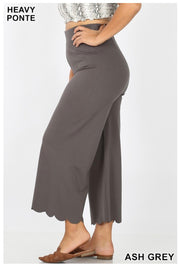 BT-O {Count Me In} Ash Grey Heavy Ponte Pants Scalloped Hem PLUS SIZE
