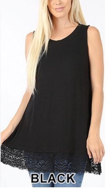SV-U (Right For You) Black Sleeveless With Lace Hem PLUS SIZE 1X 2X 3X