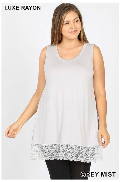 SV-B (Right For You) Grey Mist Sleeveless With Lace Hem PLUS SIZE 1X 2X 3X