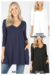 SQ-H {Let Me Simplify} IVORY V-Neck Tunic with Side Pockets