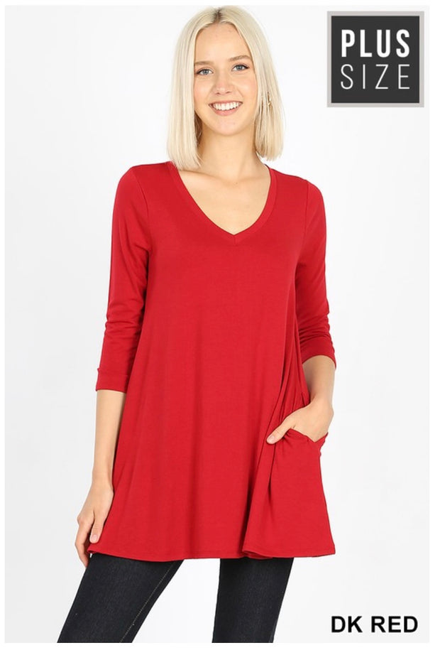 SQ-F {Let Me Simplify} RED V-Neck Tunic with Side Pockets