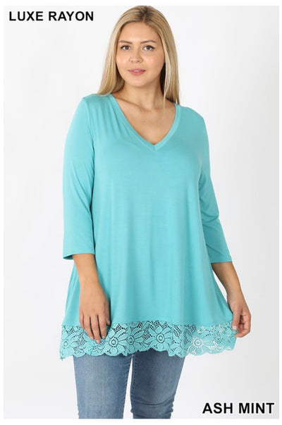 SD-E (Just Amazing) Ash Mint V-Neck Tunic With Lace Hem PLUS SIZE 1X 2X 3X