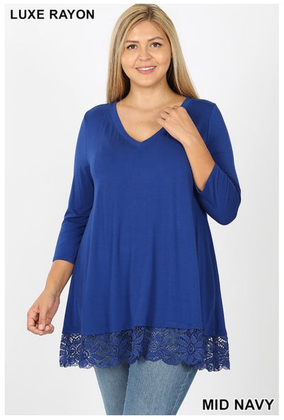 SD-I (Just Amazing ) Mid Navy V-Neck Tunic With Lace Hem PLUS SIZE 1X 2X 3X
