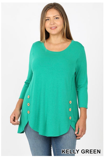 SD-M ( Just As You Are ) K. Green With Wooden Button Detail PLUS SIZE 1X 2X 3X