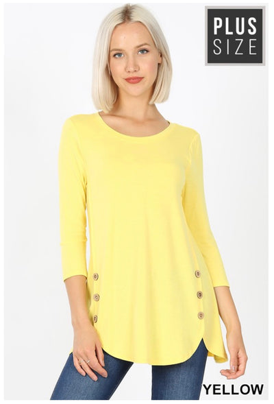 SD-N (Just As You Are) Yellow With Wooden Button Detail PLUS SIZE 1X 2X 3X