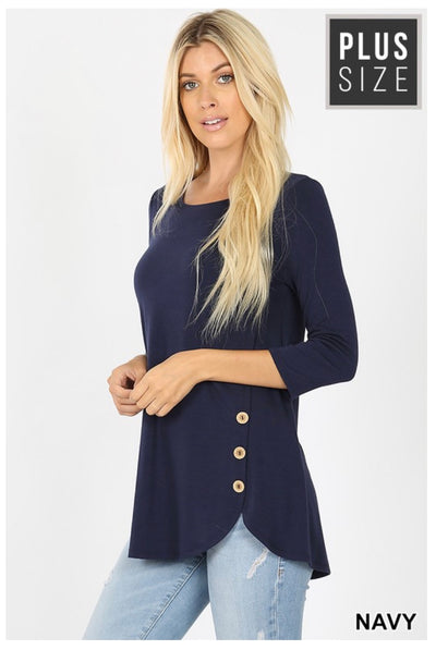 SD-B (Just As You Are) Navy With Wooden Button Detail PLUS SIZE 1X 2X 3X