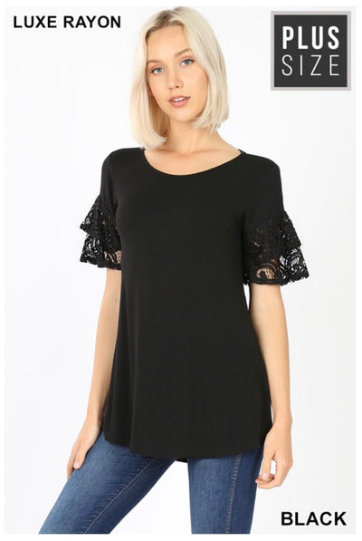 SD-Y (Always Pretty) Black With Double Ruffle Lace Sleeves PLUS SIZE 1X 2X 3X
