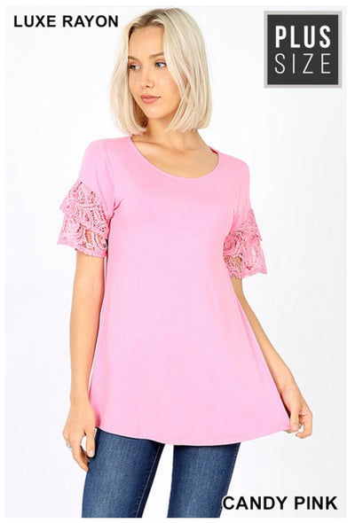SD-X (Always Pretty) Candy Pink With Double Ruffle lace Sleeves PLUS SIZE 1X 2X 3X
