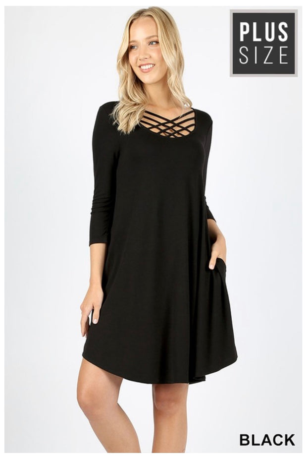 SQ-U {Best In Class} Black Lattice Detail Dress 3/4 Sleeves PLUS SIZE 1X 2X 3X