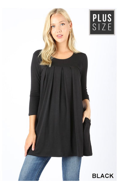 SQ-L (Style Up) Black Round Neck Pleated Top PLUS SIZE 1X 2X 3X
