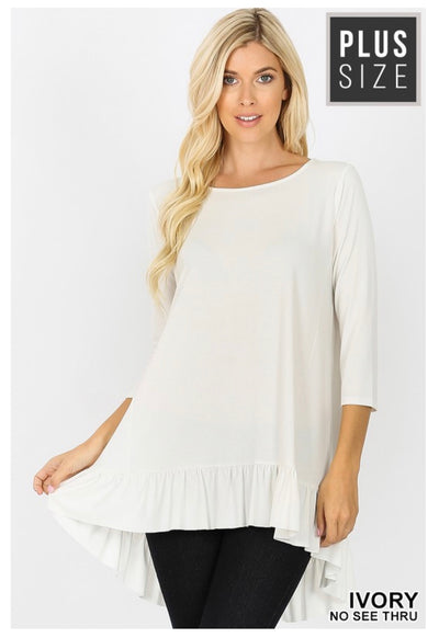 SQ-A (Sweet Muse) Ivory Hi-Low Tunic With Ruffled Hem PLUS SIZE 1X 2X 3X