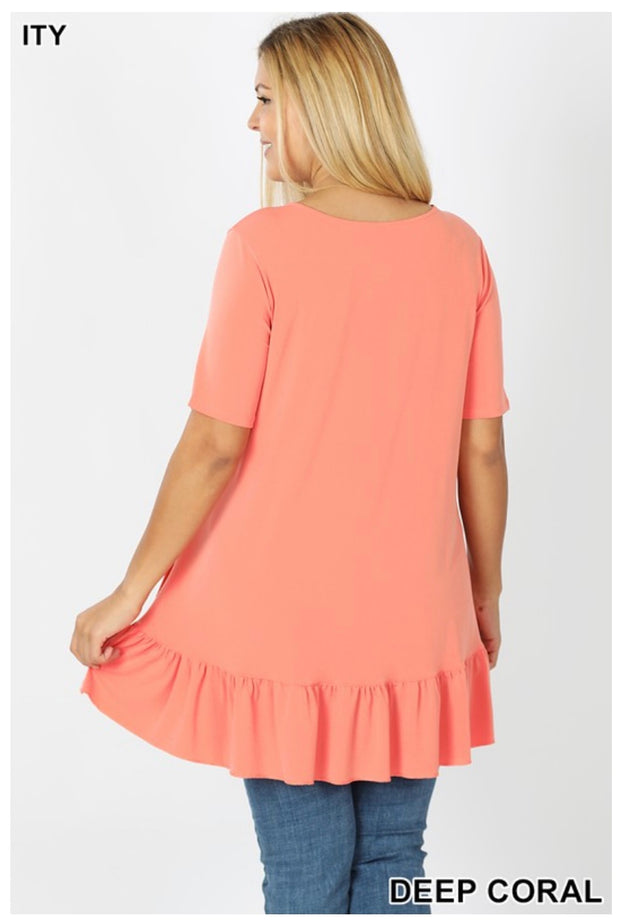 SSS-A (Crisp & Cool) Deep Coral Top With Overlap Ruffle Detail PLUS SIZE 1X 2X 3X