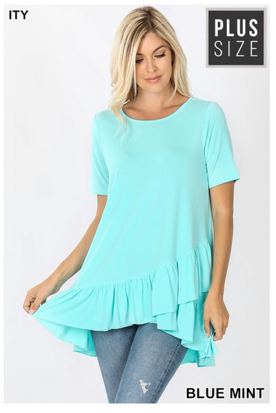 SSS-O (Crisp & Cool) Blue Mint Top With Overlap Ruffle Detail PLUS SIZE 1X 2X 3X