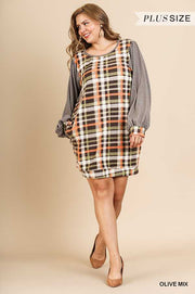 "CP-C {High Fashion} ""UMGEE"" Soft Green Plaid Dress   PLUS SIZE XL 1X 2X SALE!!"