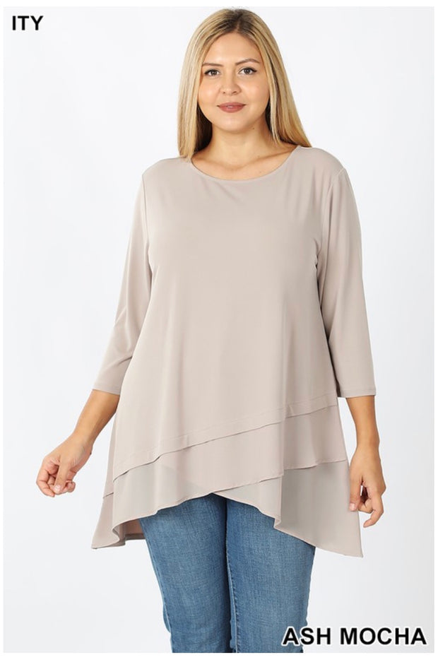 SQ-B (Sophisticated Girl) Ash Mocha Tunic With Sheer Detail PLUS SIZE 1X 2X 3X