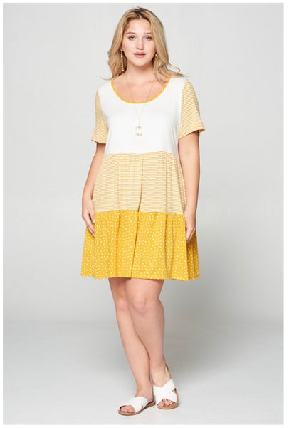 PQ-K Hidden Thought Mustard Paisley Ruffle Sleeve Dress