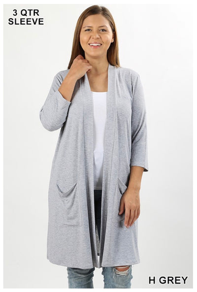 0T-A (Free Falling) Heather Grey Slouchy Pocket Cardigan PLUS SIZE 1X 2X 3X