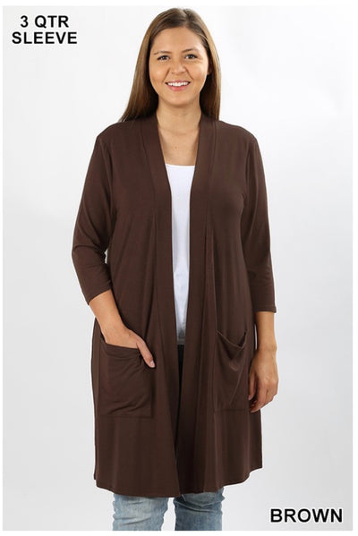 OT-O {Free Falling} BROWN Slouchy Pocket Cardigan PLUS SIZE 1X 2X 3X