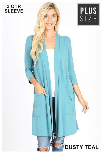 OT-G {Free Falling} Dusty Teal Slouchy Pocket Cardigan PLUS SIZE 1X 2X 3X