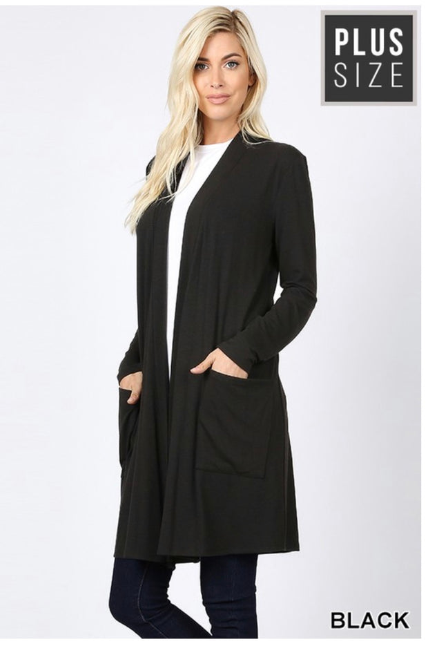 OT-K {Stormy Nights} Black Long Sleeve Cardigan Pockets