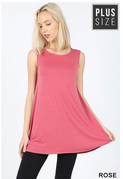 SV-H (Only One) Rose Sleeveless Tunic With Pockets PLUS SIZE 1X 2X 3X