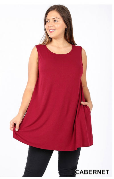 SV-A (Only One) Cabernet Sleeveless Tunic With Pockets PLUS SIZE 1X 2X 3X