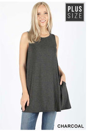 SV-V (Only One) Charcoal Sleeveless Tunic With Pockets PLUS SIZE 1X 2X 3X