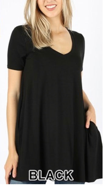 SSS-L {Absolute Most Favorite} Black V-Neck Flared Tunic  PLUS SIZE 1X 2X 3X SALE!!