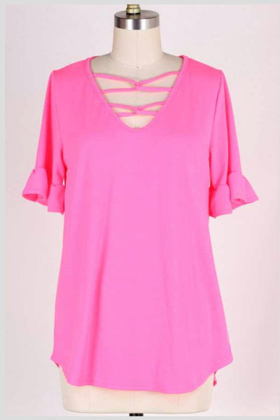 SSS-L {One Day Soon} Neon Pink Top with Detailed V-Neck