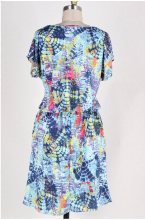 PSS-C {Fade Together} Blue/Multi Print Tie-Dye Dress w/Pockets FLASH SALE!!