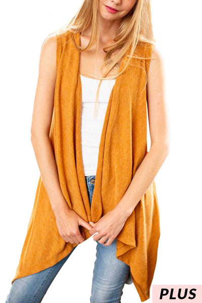OT-K {Relaxed & Cozy} Asymmetrical Camel Soft Knit Vest PLUS SIZE 1X 2X 3X