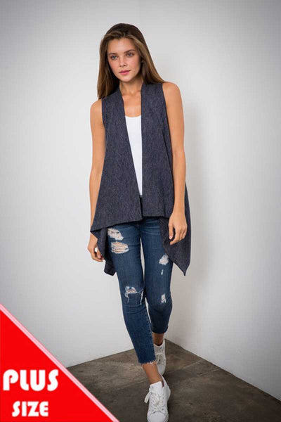 OT-L {Relaxed & Cozy} Asymmetrical Navy Soft Knit Vest PLUS SIZE 1X 2X 3X