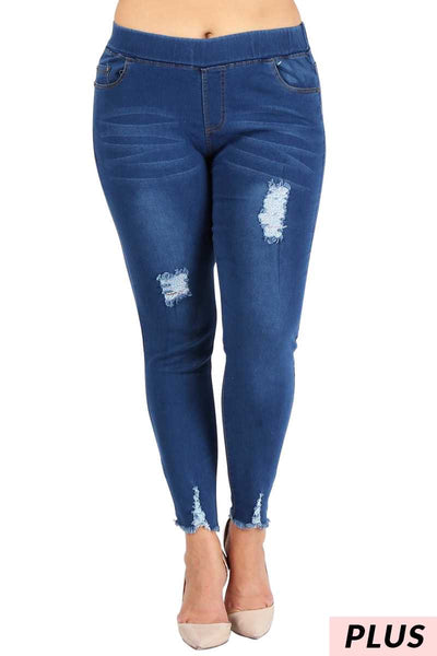 BT-V {Making Friends} Stretchy Denim Ripped Jeggings PLUS SIZE