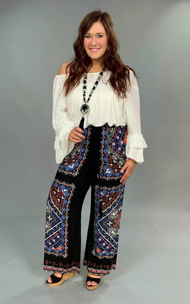 BT-E Black/Blue Palazzo Pants With Drawstring Waist SW SALE!