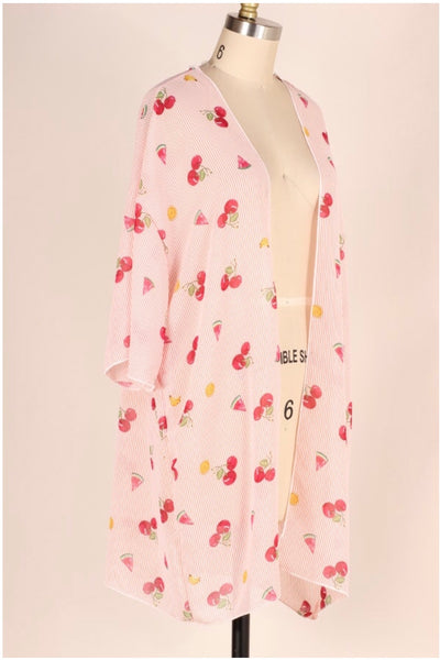 OT-F {Cherry Go-Round} Fruit/Pink Striped Cardigan