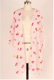 OT-F {Cherry Go-Round} Fruit/Pink Striped Cardigan PLUS SIZE 1X 2X 3X