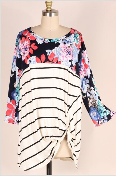 CP-N {Time Well Spent} Navy Floral Striped Contrast Top  Extended Plus