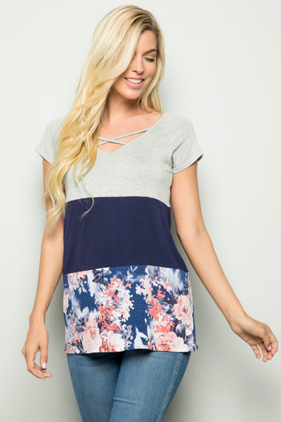 CP-B {Steal Your Heart} Navy Floral Print Contrast Top
