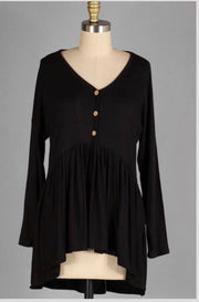 SLS-M {Not So Simple} Black Babydoll Hi-Lo Top with Buttons Extended Plus Size SALE!!
