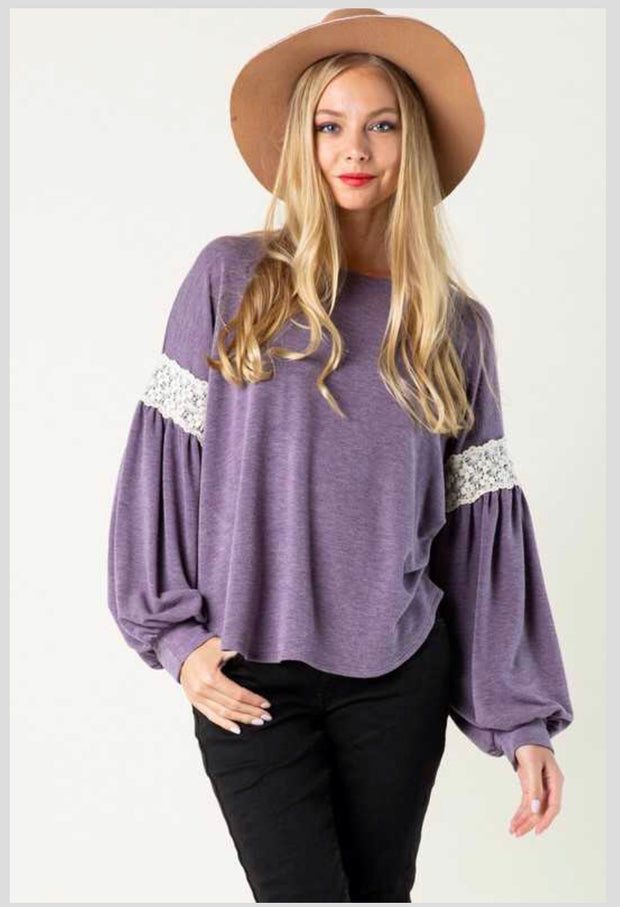 SD-B {Sedona Skies} Lilac Top with Crochet Lace Arm Bands