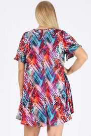 PSS-Q {Peaceful Harmony} Multi-Print Tunic or Dress PLUS SIZE 1X 2X 3X