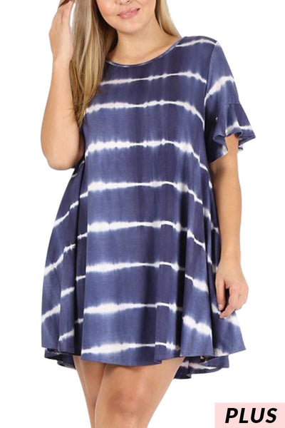 PSS-K {Don't Rush Away} Navy Tie-Dye Dress or Tunic PLUS SIZE 1X 2X 3X
