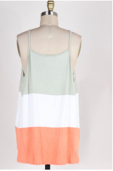 SV-C {Best Kind Of Night} Coral/Sage Sleeveless Top