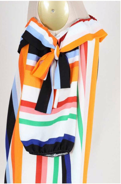 OS-S {Fall Into Place} Vertical Striped Top Shoulder Ties