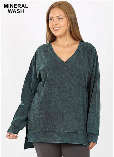 SLS-F {Simply Perfect} Forest Green Mineral Wash V-Neck Top